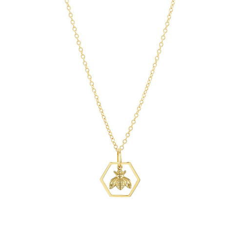 Hexagon Bee Charm Necklace