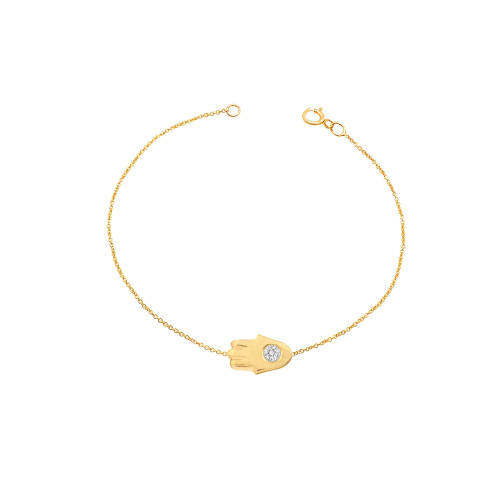 Diamond Hamsa Bracelet 14K Yellow Gold