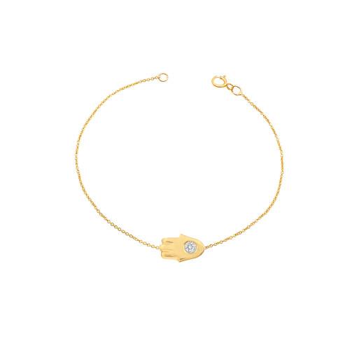 Diamond Hamsa Bracelet 14K Yellow Gold
