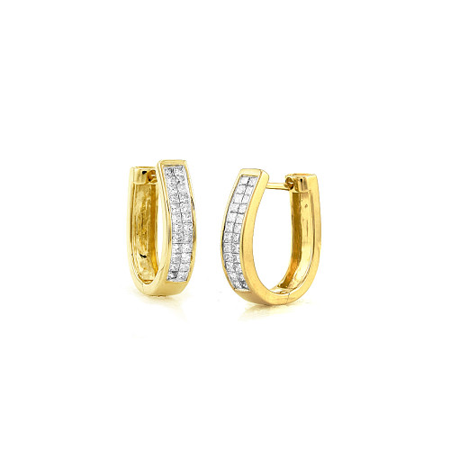 Princess Cut Diamond Hoop Earrings 14K Yellow Gold