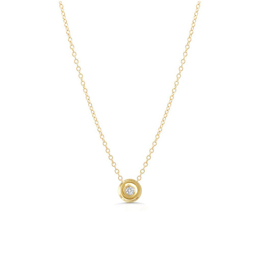 Diamond Solitaire Slide Charm Necklace 14K Yellow Gold