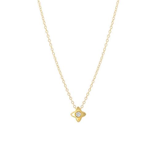Sliding Single Diamond Star Necklace 14K  Yellow Gold