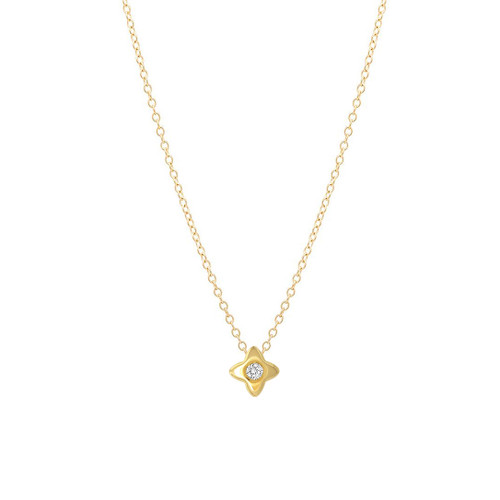 Sliding Single Diamond Star Necklace 14K  Yellow Gold