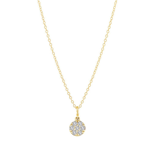 Mini Diamond Disc Charm Necklace 14K Yellow Gold