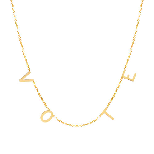 Large Initial Vote Necklace 14K Yellow Gold