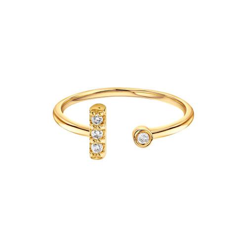 Diamond Bar With Bezel Cuff Ring 14K Yellow Gold