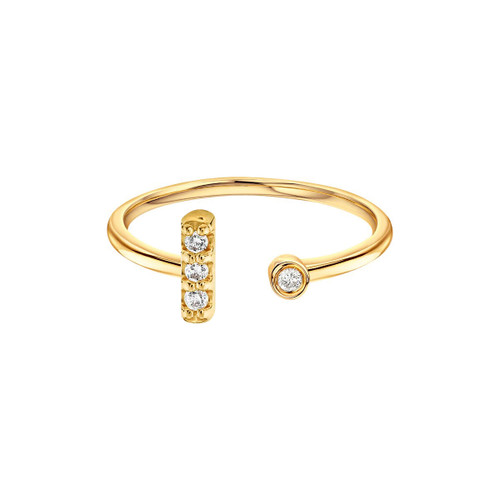 Diamond Bar With Bezel Cuff Ring 14K Yellow Gold