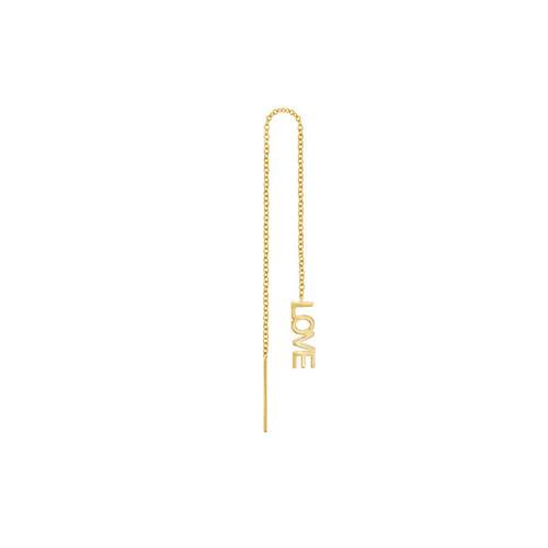 Letter Love Threader Earring 14K Yellow Gold