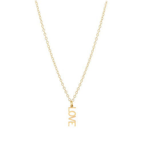 Letter Love Charm Necklace 14K Gold
