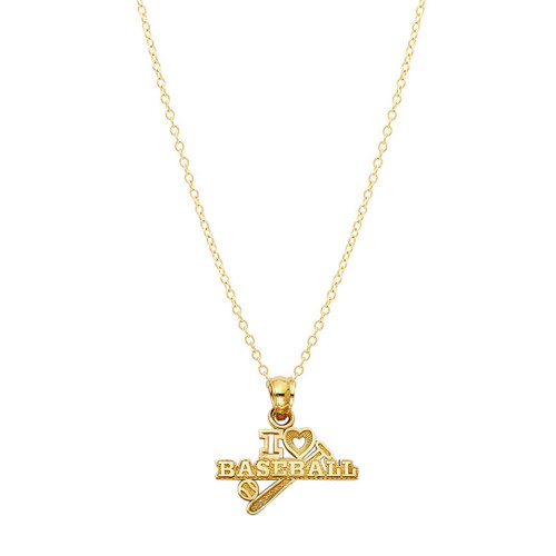 Baseball Pendant Necklace 14K Yellow Gold