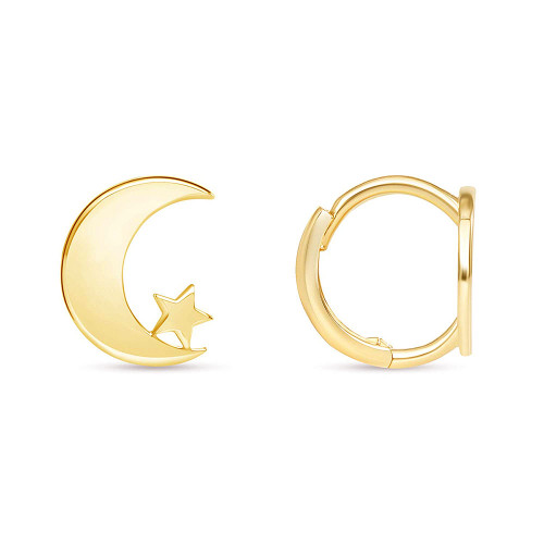 Moon Star Huggie Hoop Earring 14K Yellow Gold