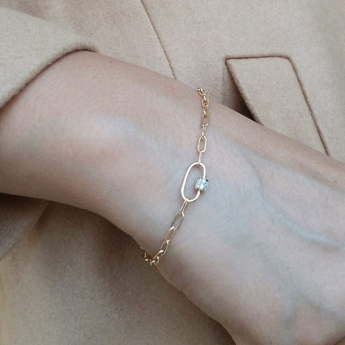 Paper Clip  Link Chain with Diamond Carabiner Bracelet 14K Gold