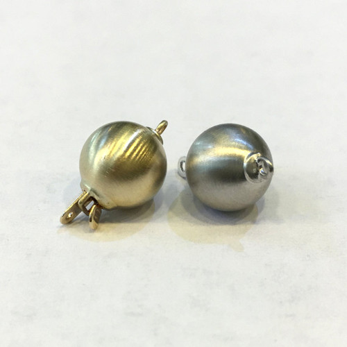 14K Gold Matt Ball Safety Clasp For Necklace