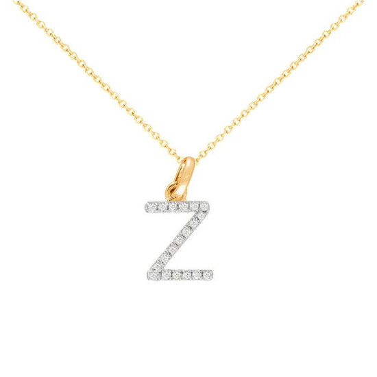 Diamond initial necklace 14k yellow gold