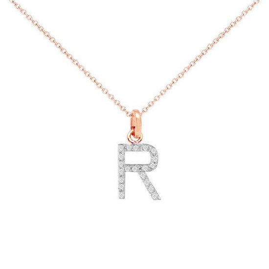 Diamond initial necklace 14k rose gold