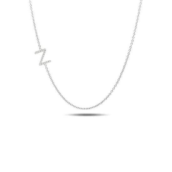 Sideway diamond initial necklace 14kw gold