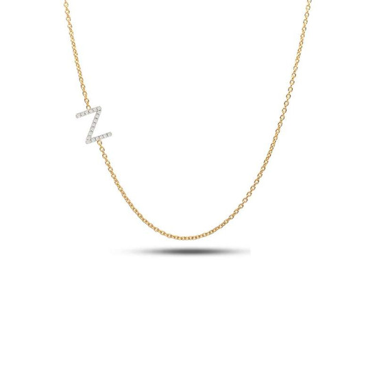 Sideway diamond initial necklace 14ky gold