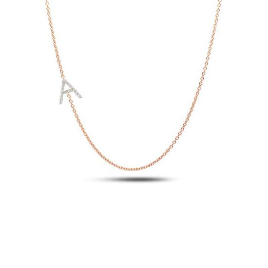 Sideway diamond initial necklace 14kr gold