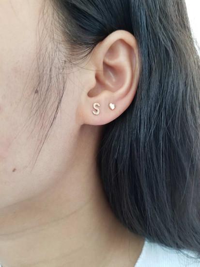 Initial Stud Earring 14K Yellow Gold