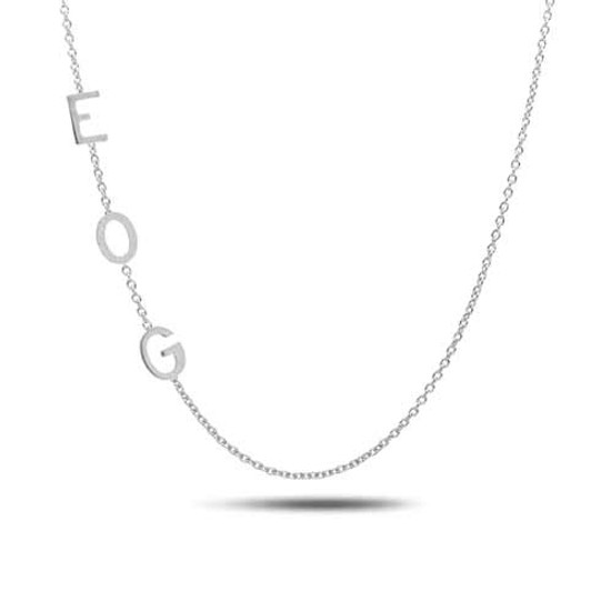 Initial Necklaces 14K White Gold