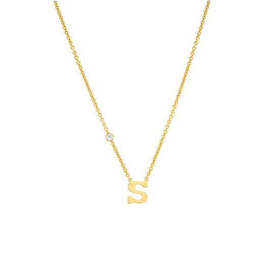 Letter with bezel diamond 14K yellow gold necklace