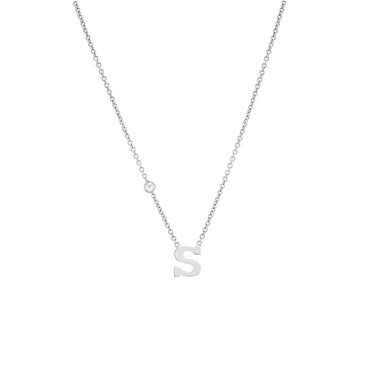 Letter with bezel diamond 14K white gold necklace