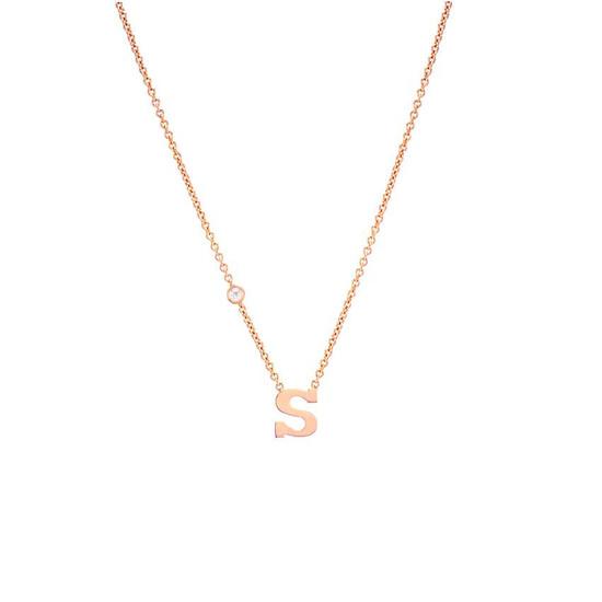 14k Gold Letter and Bezel Diamond Necklace