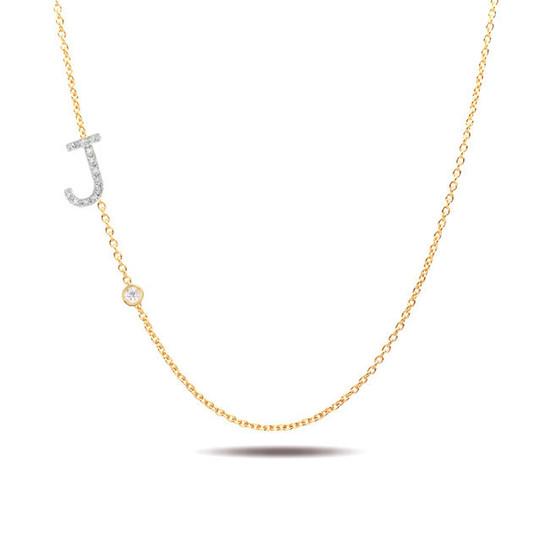 14k gold diamond initial and bezel diamond necklace