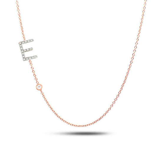 14k Gold Diamond Initial and Bezel Necklace