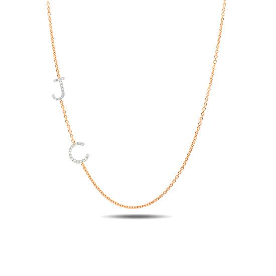 14k rose gold diamond asymmetrical initials necklace