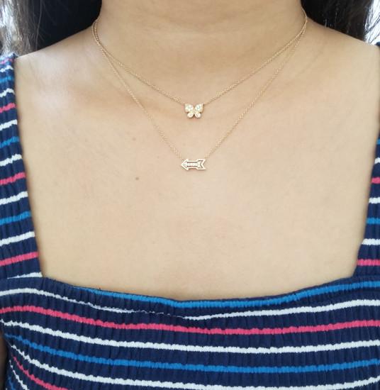 Yellow Gold Diamond Arrow Necklace
