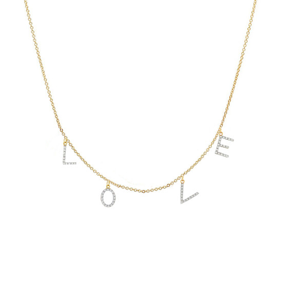 Diamond love necklace 14k yellow gold
