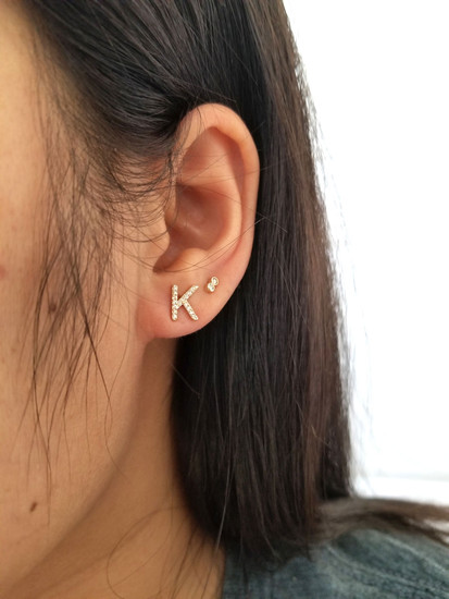 Diamond Initial Stud Earring 14K Gold