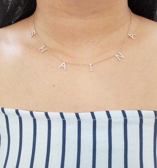 Diamond Space Letter Necklace  14K Gold
