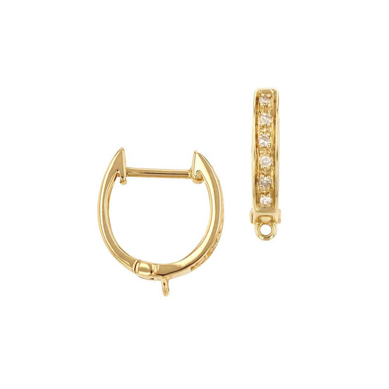 Diamond Huggie Earring with Closed Ring 14K Gold