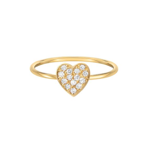 Diamond Heart Ring 14K Yellow Gold