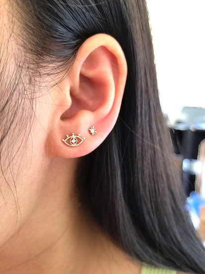 Diamond Eye Stud Earring 14K Gold