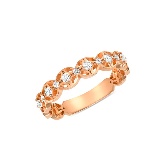 14K Rose Gold Diamond Wedding Band