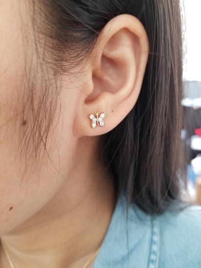 Diamond Butterfly Stud Earring