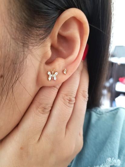 Diamond Butterfly Stud Earring 14K Rose Gold