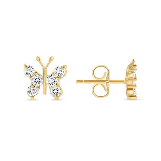 Diamond Butterfly Stud Earring 14K Yellow Gold