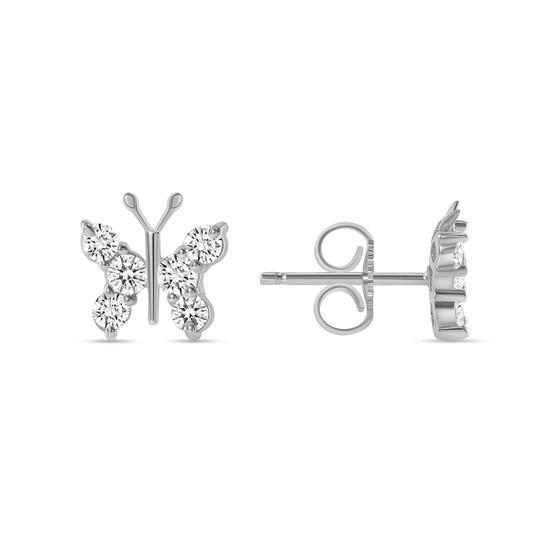 Diamond Butterfly Stud Earring 14K White Gold