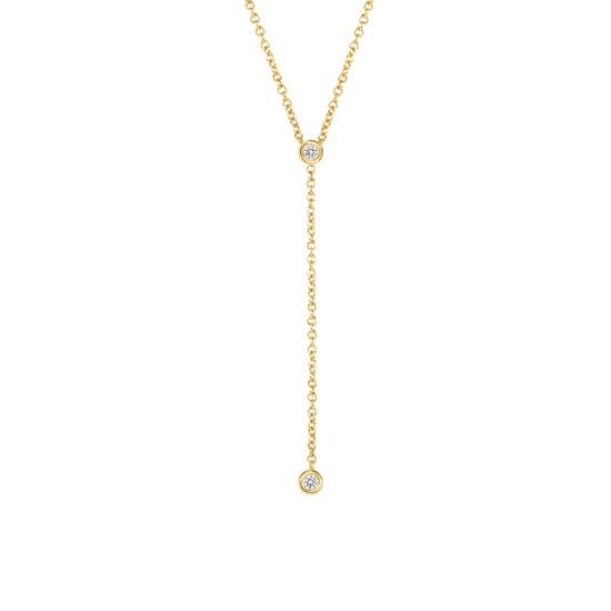 Diamond Bezel Lariat Necklace in 14K Yellow Gold