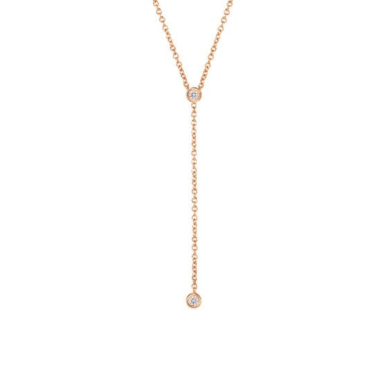 Diamond Bezel Lariat Necklace in 14K Rose Gold