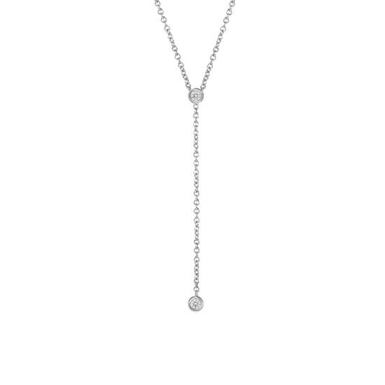 Diamond Bezel Lariat Necklace in 14K White Gold