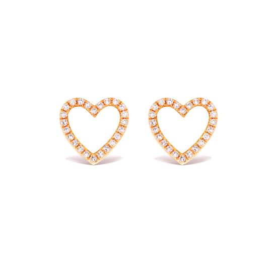 Diamond Open Heart Stud Earring 14K Rose Gold