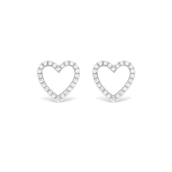 Diamond Open Heart Stud Earring 14K White Gold