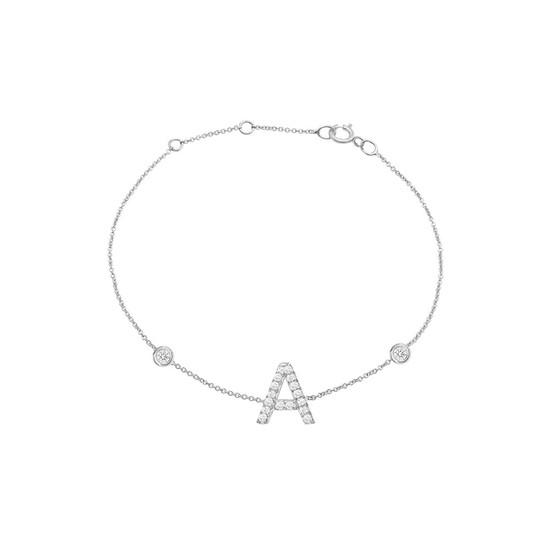 Diamond Initial with Two Bezels Bracelet 14K White Gold