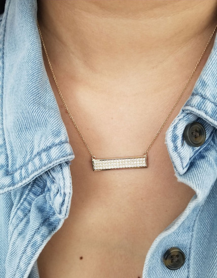 Diamond Bar Necklace 14K Gold
