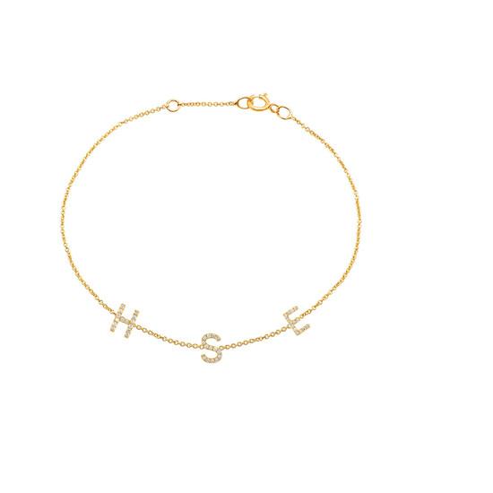 Mini Diamond Initial Bracelet 14K Yellow Gold